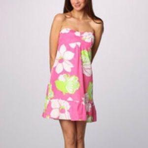 Lilly Pulitzer Strapless Floral Silk Blend Dress
